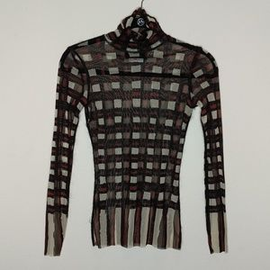 Jean Paul Gaultier Plaid Mesh turtleneck top